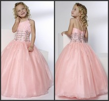 pink organza Pretty Beadings Girls Pageant Dresses Princess One-Shoulder Ball Gown Floor-Length Zipper Tulle Pink Flower Gi lovely pink beads rhinestone tiered flower girl dresses zipper floor length organza flower girl pageant dresses