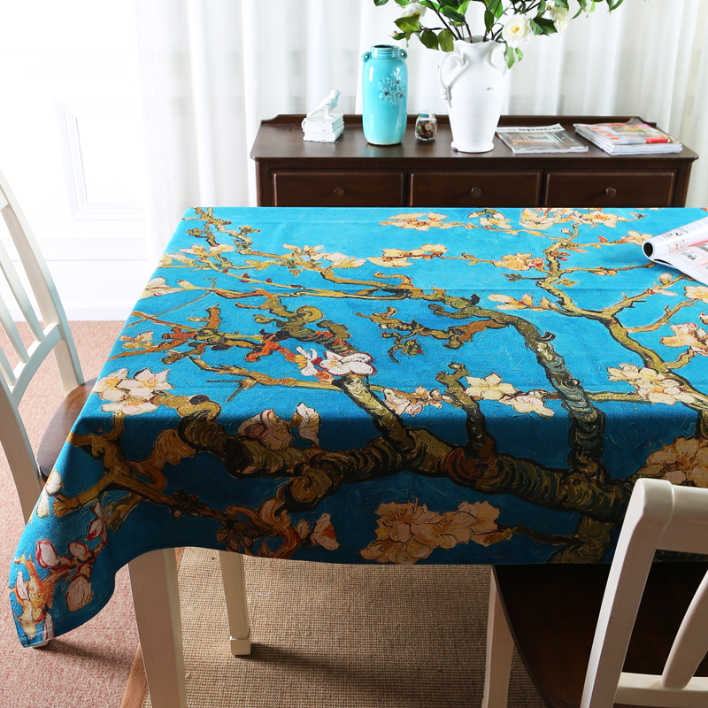 Nordic Van Gogh painting Apricot flower Table Cloth Thick Linen Dining Tablecloth Coffee Restaurant Home Decorative Cloth Cover