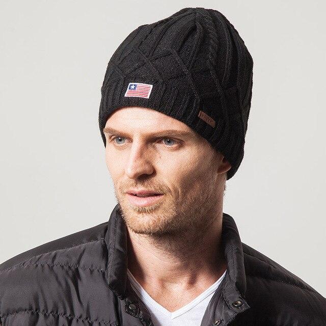Men's Hat Tide Warm Wool Cap Knitted Hat Ear Cap Hedging American Flag Hat Winter Hat
