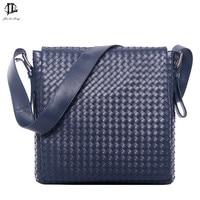 Fashion Korea style Hot Men Messenger Bags Original Design Leather Water proof Bag Men's Cross Weave Travel School Bags
