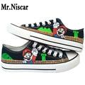 LEO Animado Super Mario Bros Zapatos Pintados A Mano de Dibujos Animados Minions Spongebob Doraemon Una Pieza de Graffiti Zapatos Casuales de Zapatos Transpirables