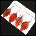 1pairs charms jewelry 30x35mm natural polished red maple leaf Indian agate gem stone leaves earrings for women handmade material