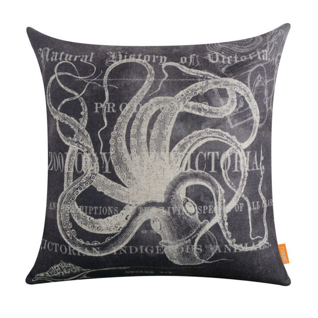 Vintage Grey Octopus Cushion Cover