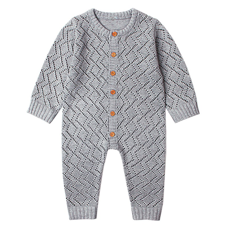 Toddler Boy Jumpsuit Girls Candy Color Knitted Long Sleeve 2019 Newborn Baby