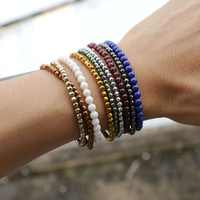 lotsale 9pieces Multi-color Hematite&Natural Stone Beads Elastic Bracelets