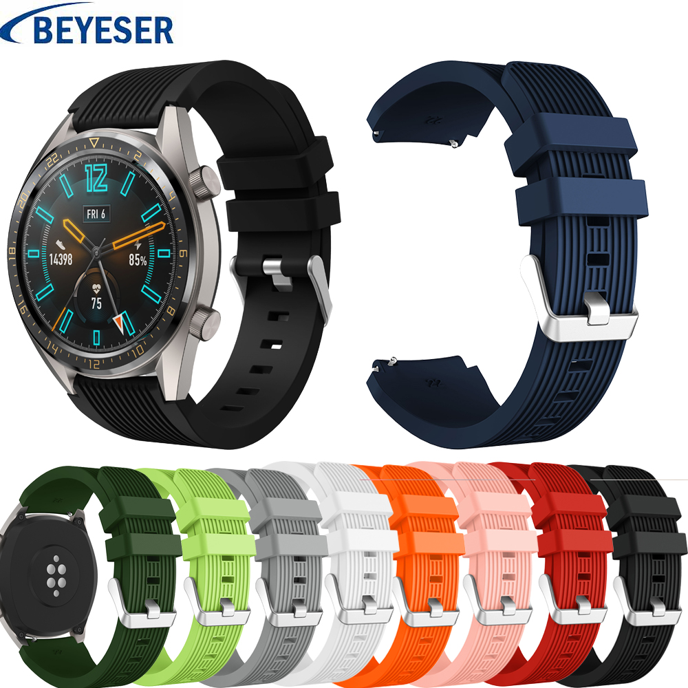 Rubber Wrist Strap For Huawei GT Silicone Watch Bands 22 Mm For Samsung Gear S3 Classic/ Frontier Bracelet Wristband Watchstrap