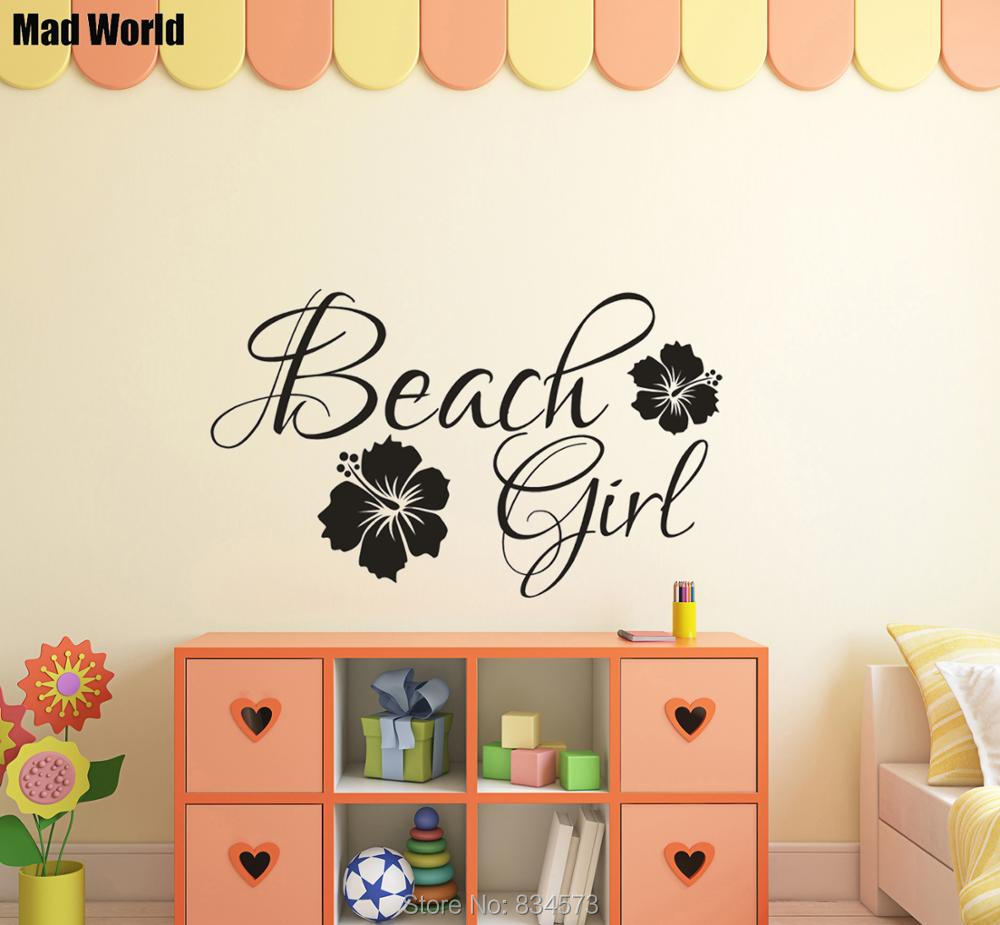 Mad World Beach Girl Hawaiian Hibiscus Flower Wall Art Stickers Wall