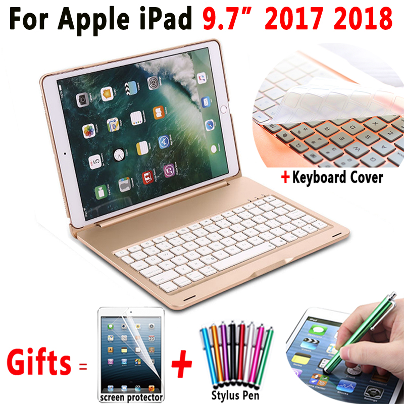 Aluminum Alloy Wireless Bluetooth Keyboard Flip PC Case Cover for Apple iPad 9 7 2017 2018