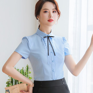 Image 4 - Elegant Women Shirt 2019 New Summer Short Sleeve Slim Bow Tie Chiffon Blouse Office Ladies Formal Work Temperament Tops