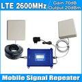 4G LTE 2600 MHz Ganho 70dB Repetidor 4G 2600 Mhz (FDD Banda 7) Conjunto Completo com Painel de Reforço de Sinal de Telefone Celular/Teto Antena e Cabo