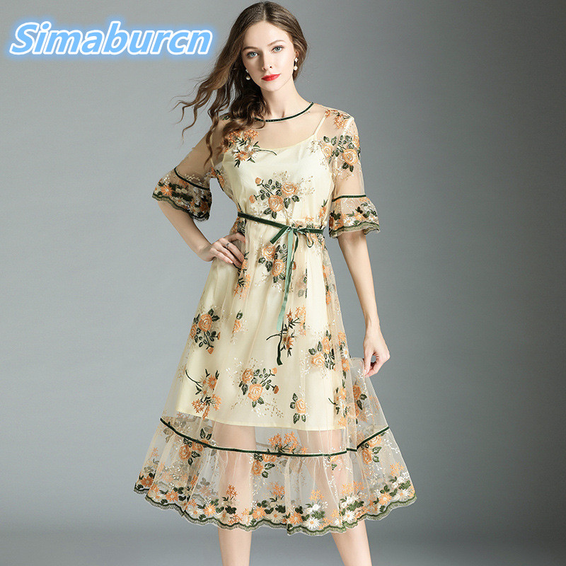 High Quality Summer Women Dress Half Sleeve Temperament Ladies Floral Embroidery Robe Perspective England Style Dresses
