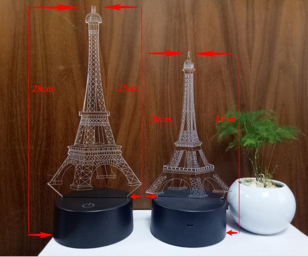 - Amroe Diff Holidays Beauty Romantic Eiffel Tower 3D 7 Color Change
