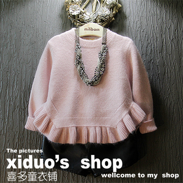 Novo 2015 outono inverno bonito Ruffles Hem meninas camisola moda quente crianças menina blusas de malha terno 2 ~ 7 age a roupa do bebê