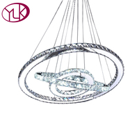 Modern LED Diamond Ring Chandeliers Chrome Mirror Finish Stainless Steel Room Hanging Lamp LED Chandelier Lustres Cristal Lamps