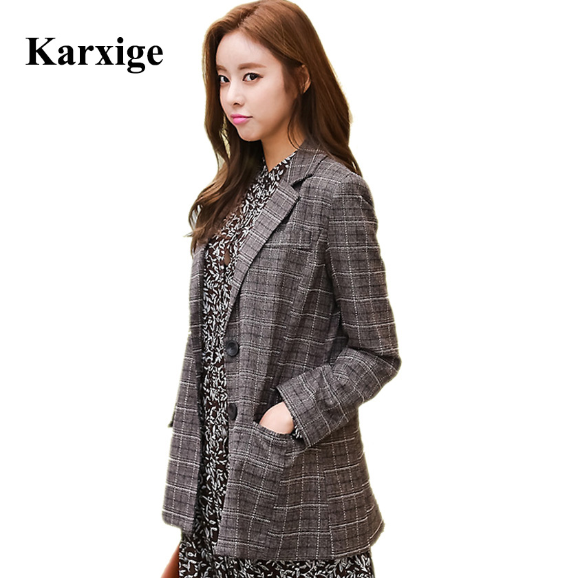 New Korean Long Sleeved All Match Slim Plaid Spring Fashion Coat Office Lady Elegant Female Jacket in Jackets from Women 39 s Clothing