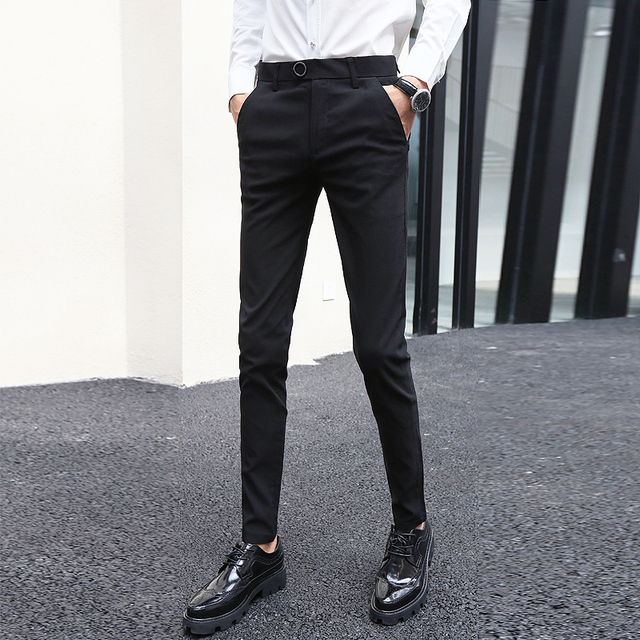 d27aee428259 2018 Latest British Style Men's Pants Black Slim Fit Skinny Suit Pant  Formal Long Trousers Male Quality Stretch Casual Pants Men