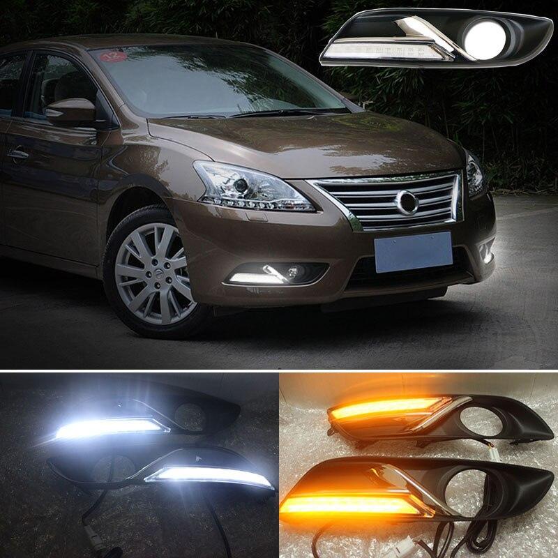 With Yellow Turning Function Chromed Strip Cover 12V Car DRL LED Daytime Running Light For Nissan
