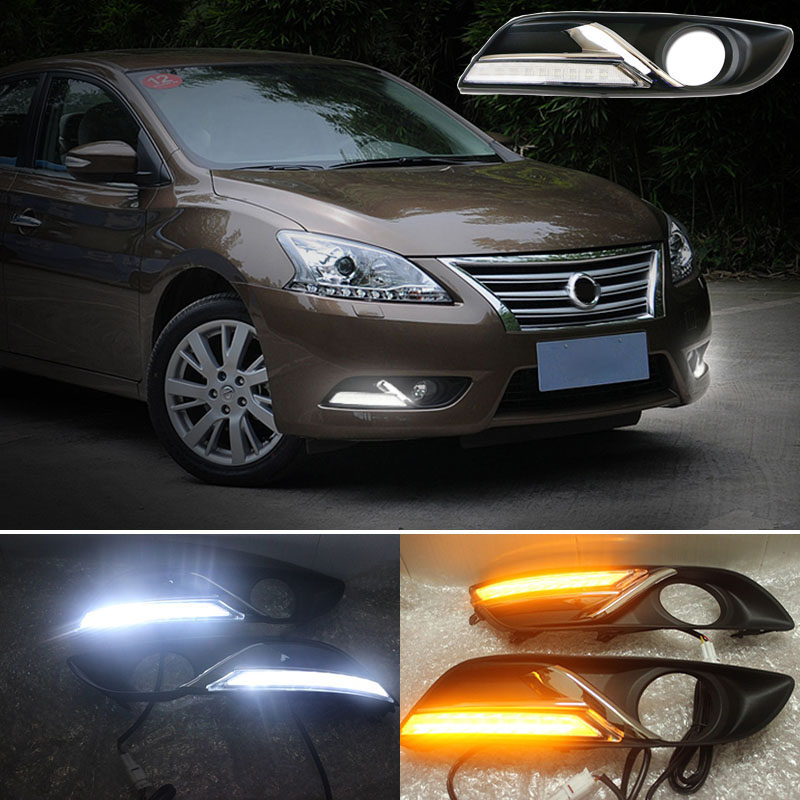 With Yellow Turning Function Chromed Strip Cover 12V Car DRL LED Daytime Running Light For Nissan Sylphy Sentra 2013 2014 2015~6 fog light lamps kit for nissan bluebird sylphy sentra 2013 2015