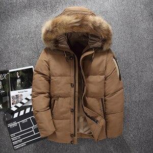Image 1 - Abrigos de invierno de diseño superior para hombre, chaqueta acolchada de plumón de pato blanco, chaquetas informales con capucha de marca, envío gratis