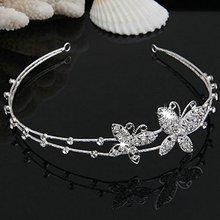 NEW Silver Plated Crystal Butterfly Wedding Bridal Headband Tiara Hair Band Fashion