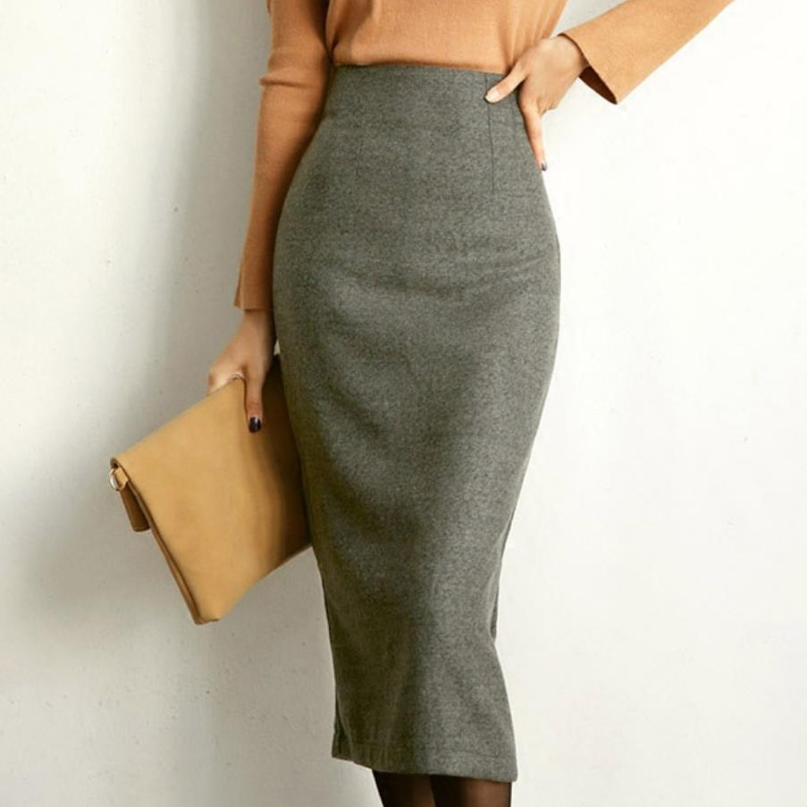 New Autumn Winter Women Woolen Skirt Split High Waist Pencil Skirts Slim Package Hip Ol Skirt Plus Size 4XL