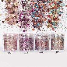 10ml/Box Mix Nail Glitter Sequins 4 Colors 2mm+1mm Mixed Hexagon Powder Pink Rose Red 3D Nails Art Sequin FMA-03