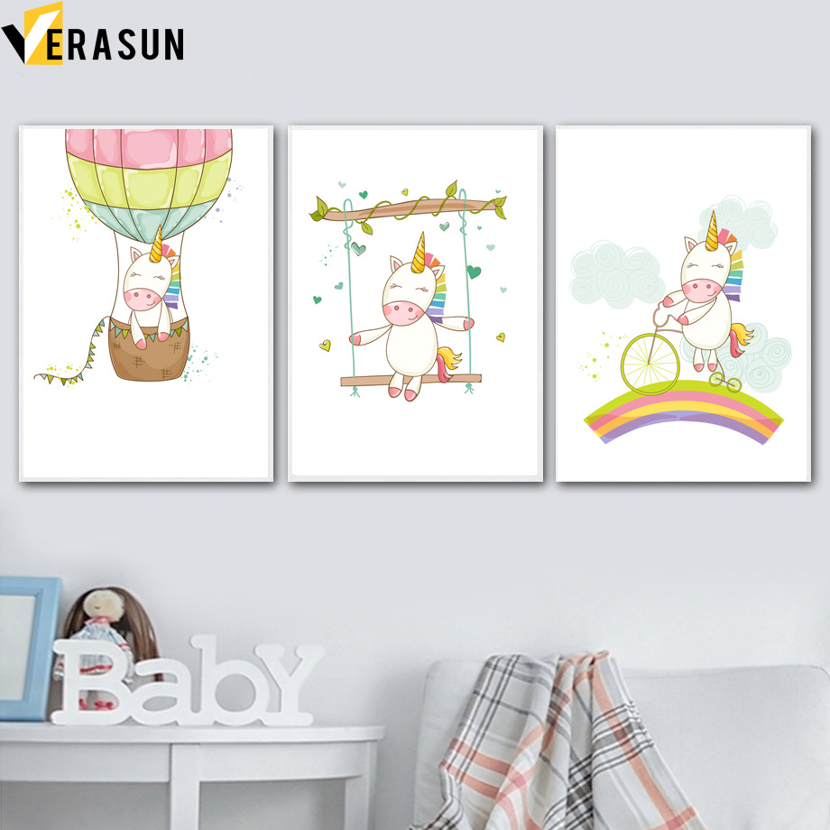 Cartoon Unicorn Hot Air Balloon Rainbow Wall Art Canvas Painting Nordic Posters And Prints Animal Wall Pictures Kids Room Decor interior design