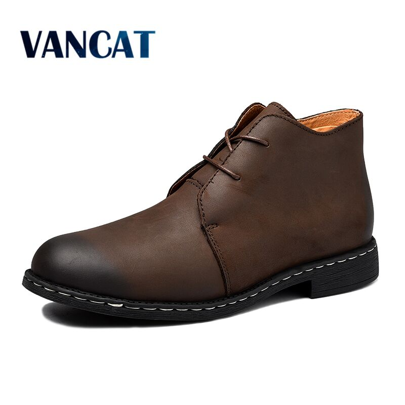 New Winter Warm Fur Men Boots Big Size 38-47 Vintage Motorcycle Boots Men Shoes Fashion Genuine Leather Snow Boots Ankle Boots