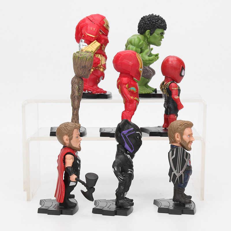 8 ชิ้น/เซ็ต Marvel ของเล่น 8-10 ซม.Avengers Endgame Thanos IRONMAN Spiderman Hulkbuster Black Panther Groot PVC Action Figures รุ่น