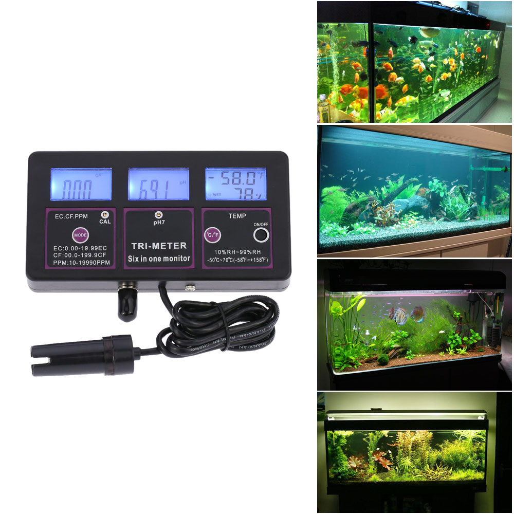 professional 6 in 1 aquarium Water Quality tester PH Meter Monitor Multi-parameter for test PH / Temperature/ EC / CF / RH / TDS цены онлайн