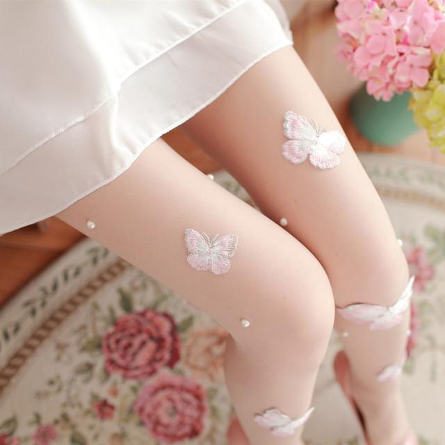 O laço branco sexy mulheres meias bordados À Mão Borboleta seção fina meia-calça Doce menina collants