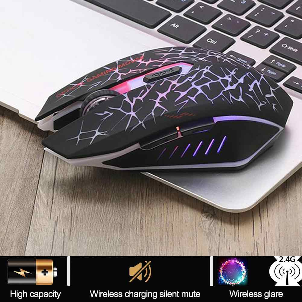 W210 2.4G Wireless Mouse Colorful Glare Optical Ergonomic 2400DPI Gaming Mouse