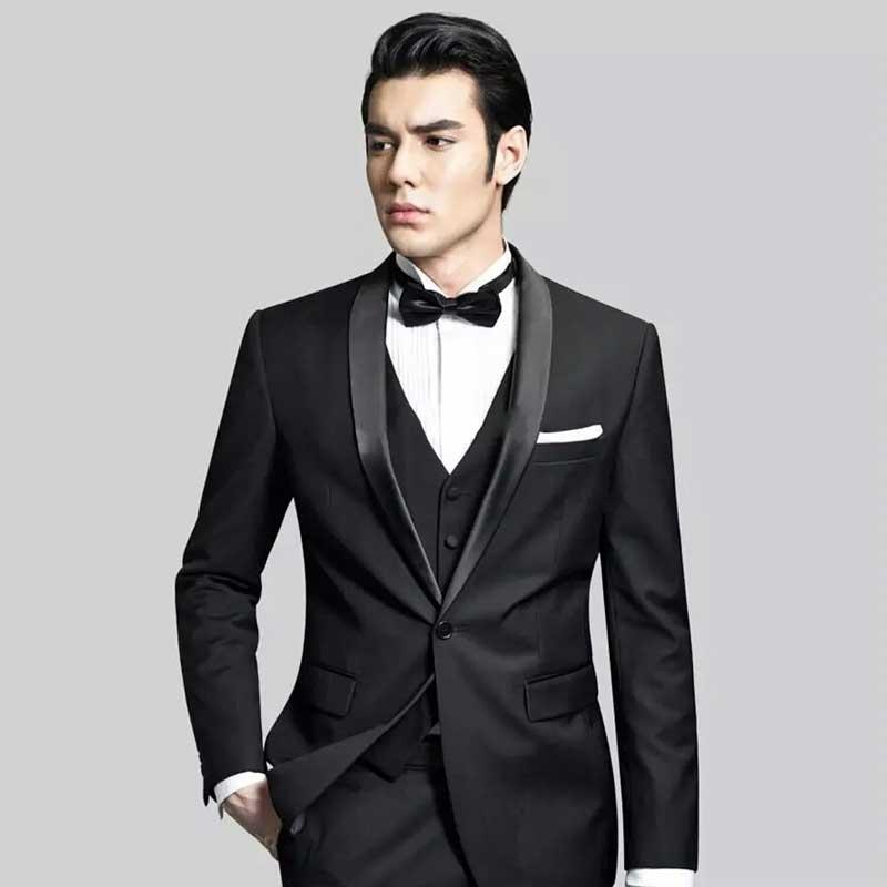 Black Groom Tuxedo Slim Fit Men Suits For Wedding Suits Man Blazer Shawl Lapel 3Piece Latest Coat Pants Designs Men Suits Jacket
