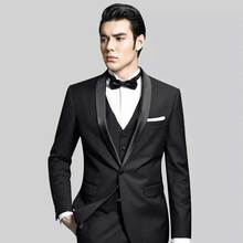Black Groom Tuxedo Slim Fit Men Suits for Wedding Man Blazer Shawl Lapel 3Piece Latest Coat Pants Designs Jacket