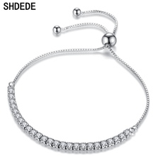 SHDEDE Clear Cubic Zirconia Adjustable Charm Bracelets For Women Gift Bride Wedding Jewelry Rhinestone Elegant +WHBK11 shdede cubic zirconia elegant charm bracelets for women bride wedding fashion jewelry heart valentine s day gift whe262
