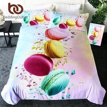 BeddingOutlet ensemble de literie Macaron français housse de couette colorée reine impression 3D housse de couette Dessert nourriture lit ensemble parrure de lit