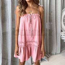 Cuerly boho beach cute ruffle sundress streetwear new spring summer mini dress L5