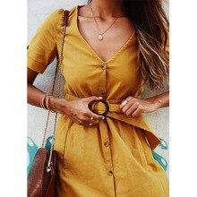 Spring Summer V Neck Elegant Short Sleeve Solid color Stripe Button Sashes Dresses Casual Yellow Long Dress