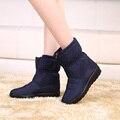 2016 Invierno nieve botas de mujer botines plana antideslizante térmica de invierno madre zapatos de mujer botas de algodón de invierno más el tamaño 42