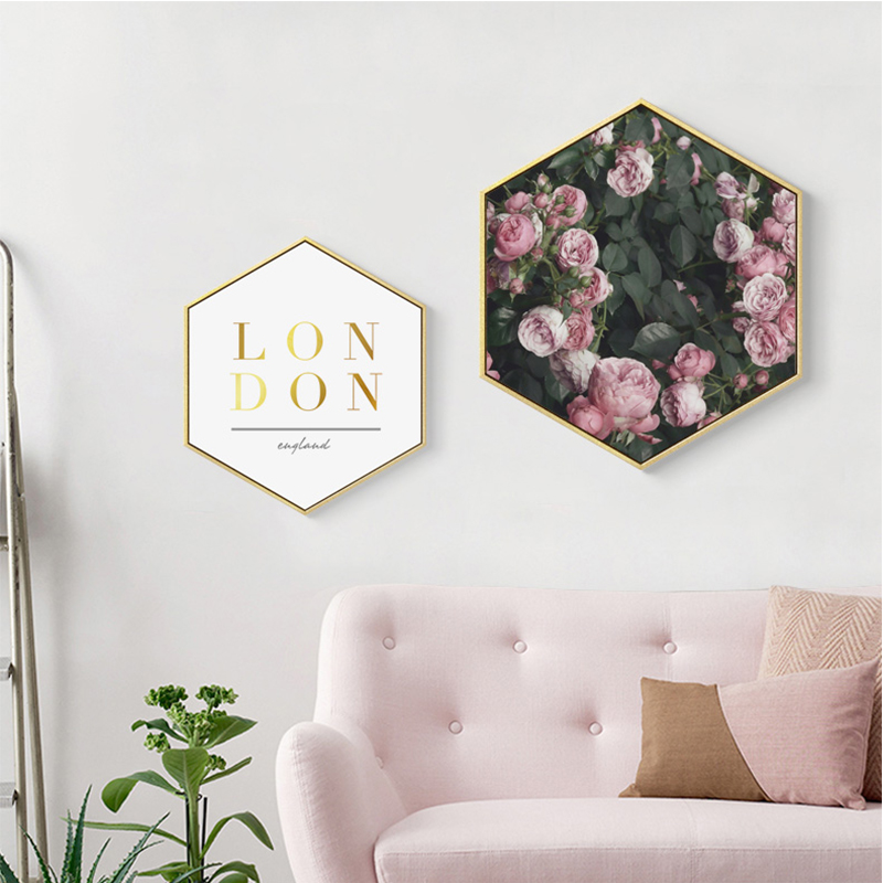 No frame Modern Green Plant Pink Flower Canvas Painting Hexagon Poster And Print Wall Picture For Living Room Girls Home Decor in Painting Calligraphy from Home Garden