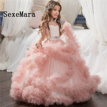 New Cloud Ball Gown Flower Girls Dresses for Wedding Beaded Sash Sheer Neck Kids Birthday Party Dress Girls Formal Wear Any Size rose gold sequins blush tulle ball gown flower girls dresses 2018 cap sleeve puffy little girls birthday party dress any size