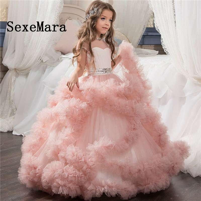 New Cloud Ball Gown   Flower     Girls     Dresses   for Wedding Beaded Sash Sheer Neck Kids Birthday Party   Dress     Girls   Formal Wear Any Size