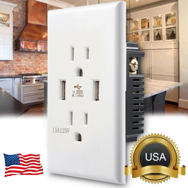 US Plug Dual USB Socket 2.1A USB Charging Socket Home Indoor USB Charging Ports for Tablet Smartphone Portable Music Player