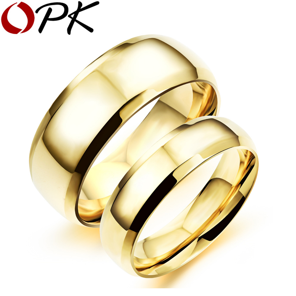 Opk Simple Gold Color Couple Rings Casual 316l Stainless Full Steel Women  Men Sports Jewelry Ring