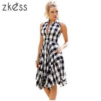 Zkess 2017 Checks Flared Plaid Shirtdress Explosions Leisure Vintage Dresses Summer Women Casual Shirt Dress Knee