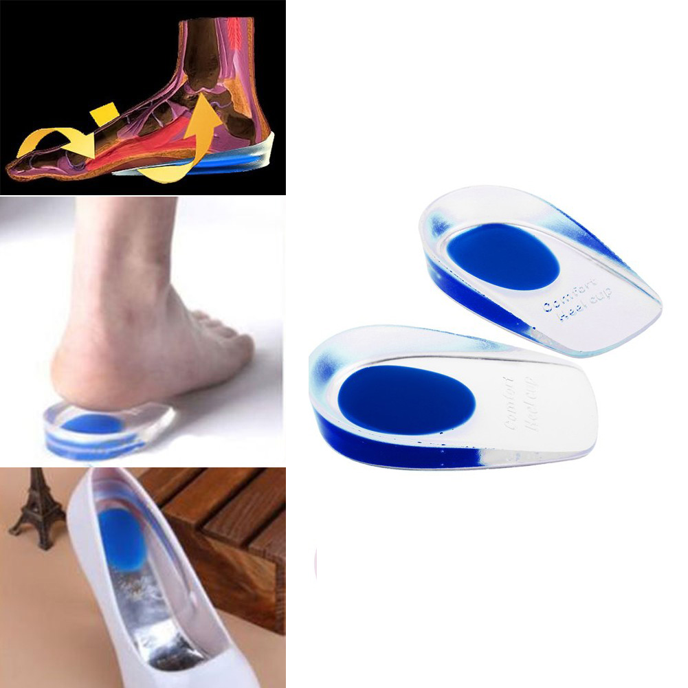 1Pair Silicon Gel Heel Cushion Insoles Soles Relieve Foot Pain Protectors Spur Support Shoe Pad Feet Care Inserts Health Z02101 jup 1 pair genuine leather gel silicone shoe pad insoles women s high heel cushion protect comfy feet palm care pads foot wear