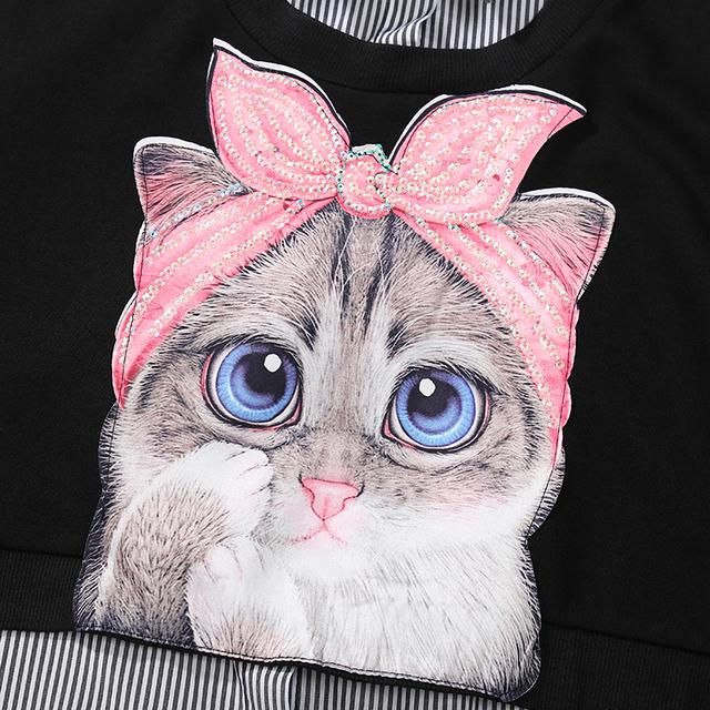 Kawaii Cat Printed Cotton Dress