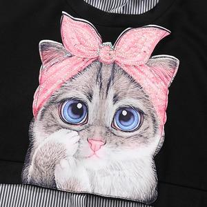 Image 4 - Novo plus size 2020 mulheres outono inverno kawaii cartoon camisa vestido gato impresso manga longa senhora casual bonito vestido midi estilo 3936