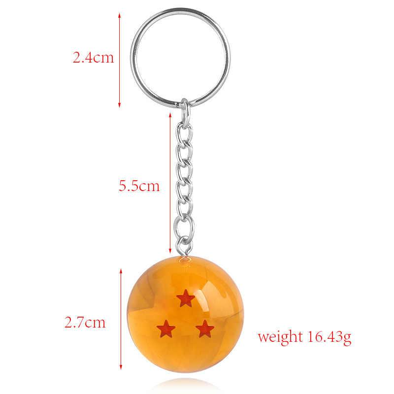 RJ מכירה לוהטת יפן דרגון בול Z 1-7 כוכבים כדורי מחזיקי מפתחות בן גוקו דמויות צעצועי Keyring תליוני רכב Chaveiro חג המולד מתנה