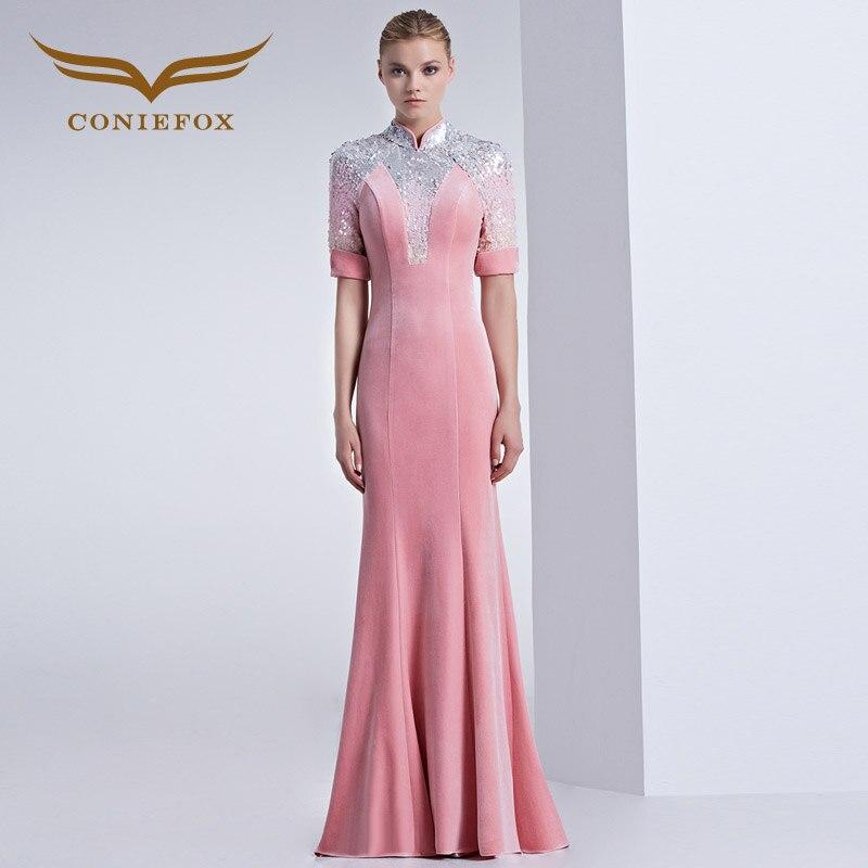 Coniefox 31560 cheongsam sirena enagua vestido de baile Velvet noche ...